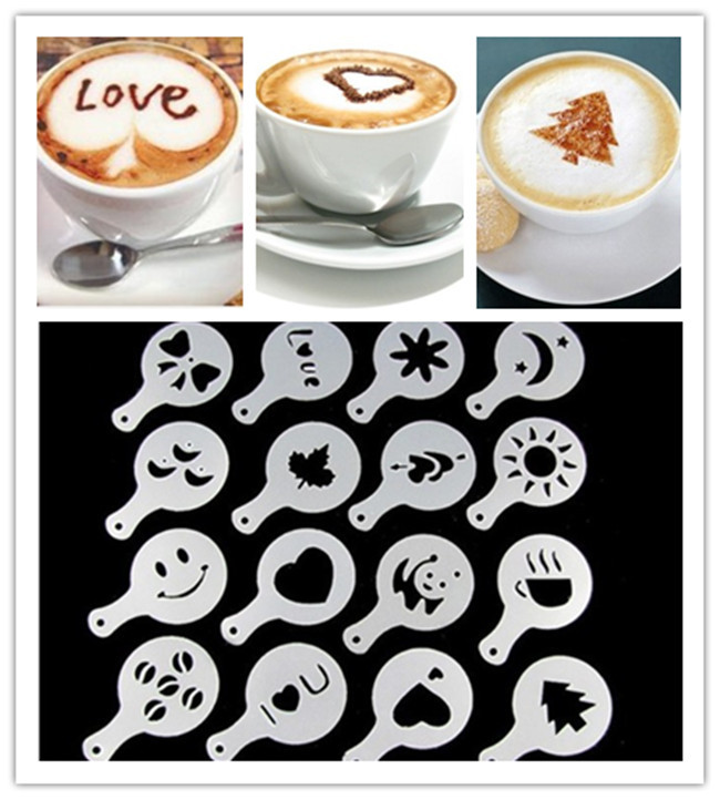 16pcs/set Cappuccino Latte Stencil Coffee Mold Decor Barista Duster Art Tool Decoration Cake Cappuccino Foam Tools(China (Mainland))