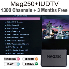 Mag 250 TV Box with 3 months IUDTV IPTV Sky It German UK full European channels for free test