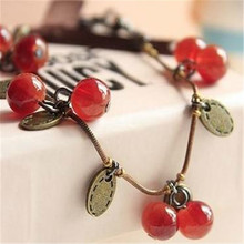 (12 pieces/lot) Bracelet For Women Vintage Cherry hand catenary Fashion Bracelets Girls Love Creative Gift Very Beauty!(China (Mainland))