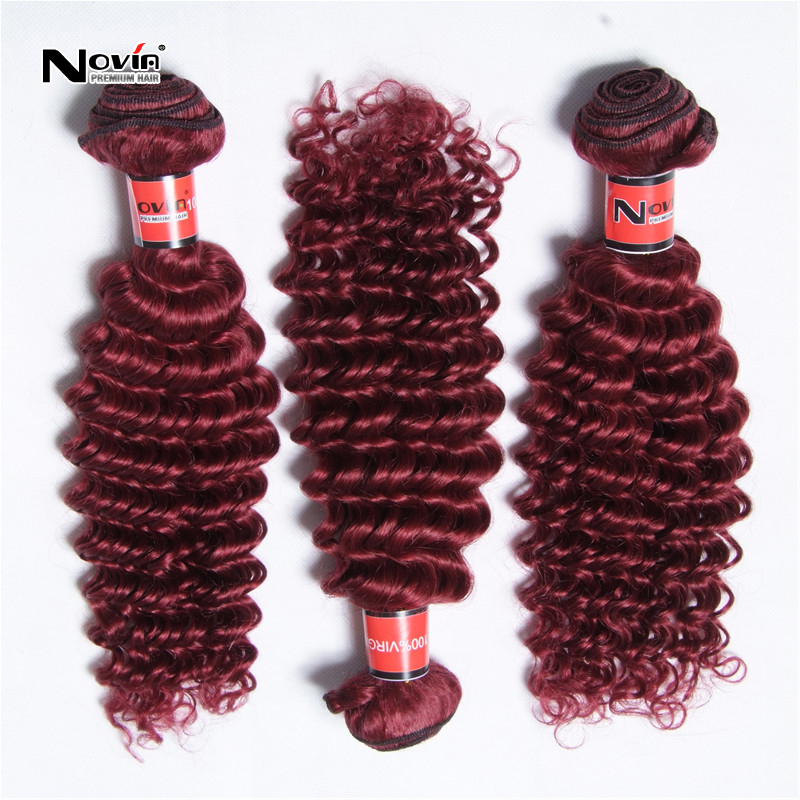 Factory Price One Bundle Brazilian Virgin Kinky Deep Curly Burgundy Red 99J Hair Weave Extension 1Pc Bohemian Curly Hair Weft(China (Mainland))