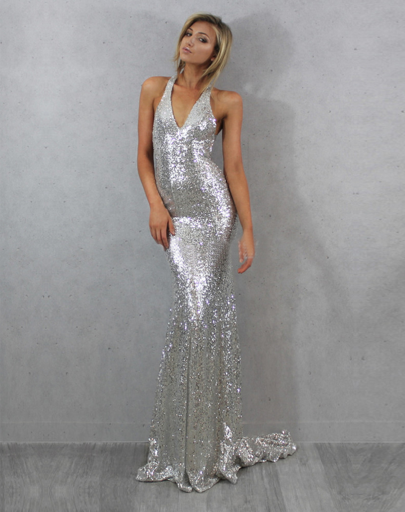 Wedding Silver Formal Dresses compare prices on cheap silver prom dress online shoppingbuy low sexy v neck sequined dresses criss cross back long mermaid cheap