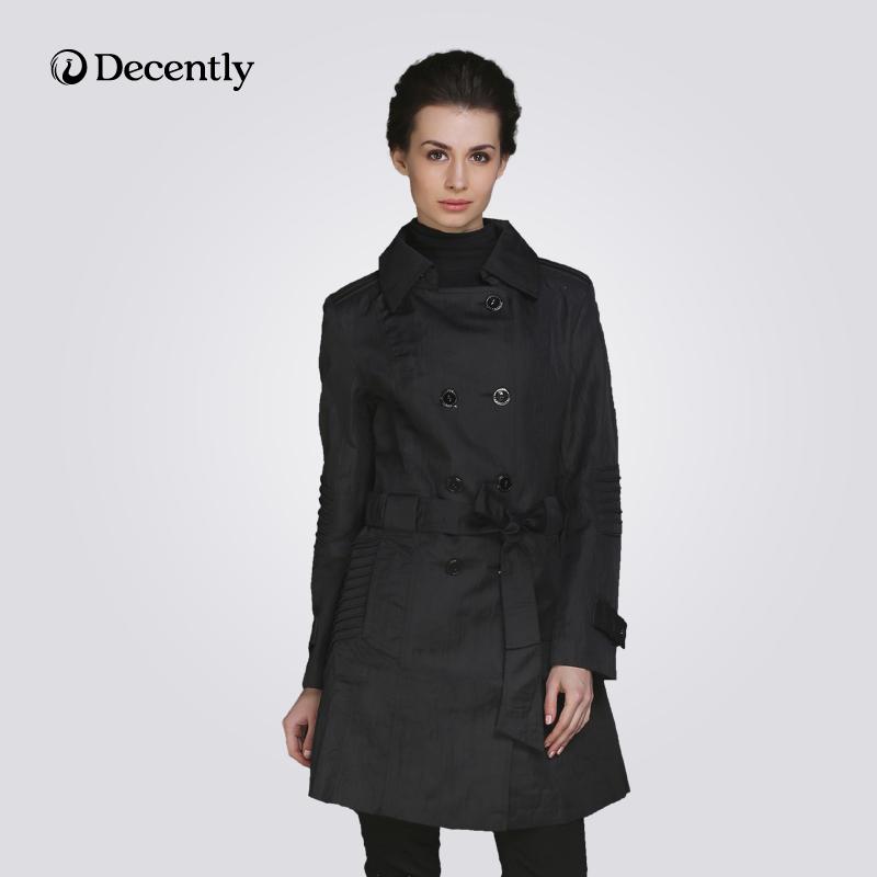 DECENTLY 2014 женский новынка плащи длинный куртка модный с капюшоном высокое качество бесплатная доставка 9596