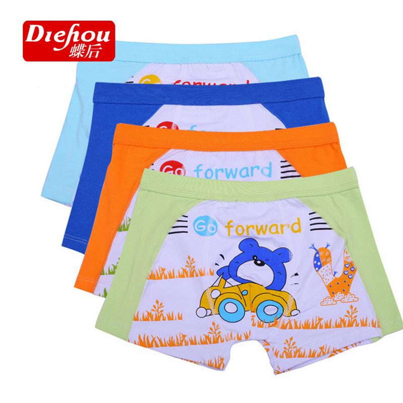 New Arrival Children Panties 5PCS Renewable fiber Boy children cotton boxer briefs boy printed cotton Boxer panties for boy(China (Mainland))