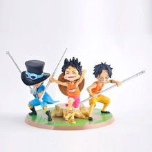 Japanese Anime One Piece Figures Child Monkey D Luffy Portgas D Ace Sabo Childhood Three Brothers Action Figure PVC Figurine