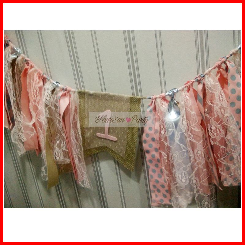 2016 Free Shipping Silver And Pink Themed Birthday Party Buntings First Year Birthday Hanging Garlands Silver Polka Dots 1 Sign(China (Mainland))
