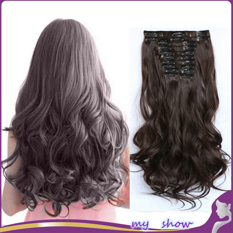 22 12 Color 12Pcs/Set Natural Hairpieces Long Wavy Kinky Curly Synthetic Clip In Hair Extensions 1Set Clip On Hair Piece <br><br>Aliexpress