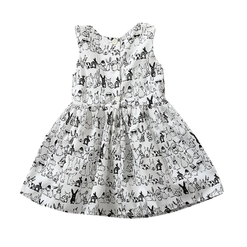 Hot Selling Baby Sleeveless Cartoon Dress Infant White Bunny Rabbit Print Ball Gown Tutu Dress Kids Easter Clothes Wza311(China (Mainland))