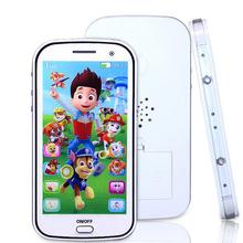 Английский/Русский дети игрушка телефон со светом с сенсорным экраном музыкальный сотовый телефон игрушки Записи Музыки Развивающие Игрушки WJ307(China (Mainland))