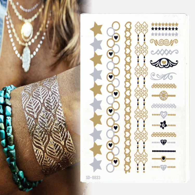 2015Hot Sales Waterproof Kit Temporary Tattoo Body Art/Fashion Bracelet Pentagram Stickers/Tattoo Koi/Glitter Set - xmxh, store