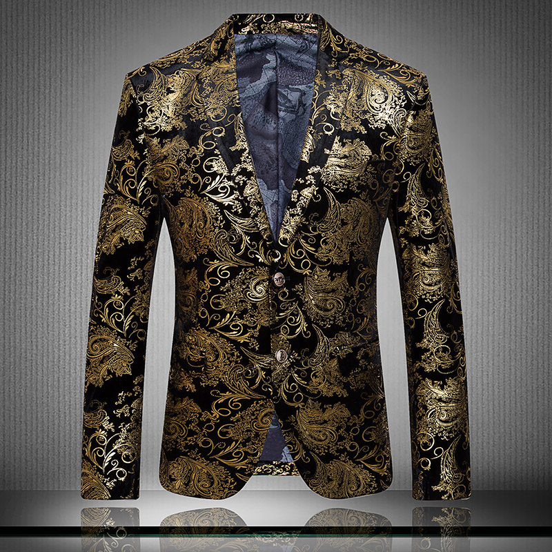 New style Spring and Autumn Male Quality Fashion Velvet Gold Slim suit Mens personality Blazer coat singer dancewear(China (Mainland))