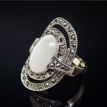 RC008 Big Luxury Hollow Gypsy Ethnic Retro Opal Rock Stone CZ Crystal Vintage Silver Rings Wholesale Women Prom Jewelry(China (Mainland))