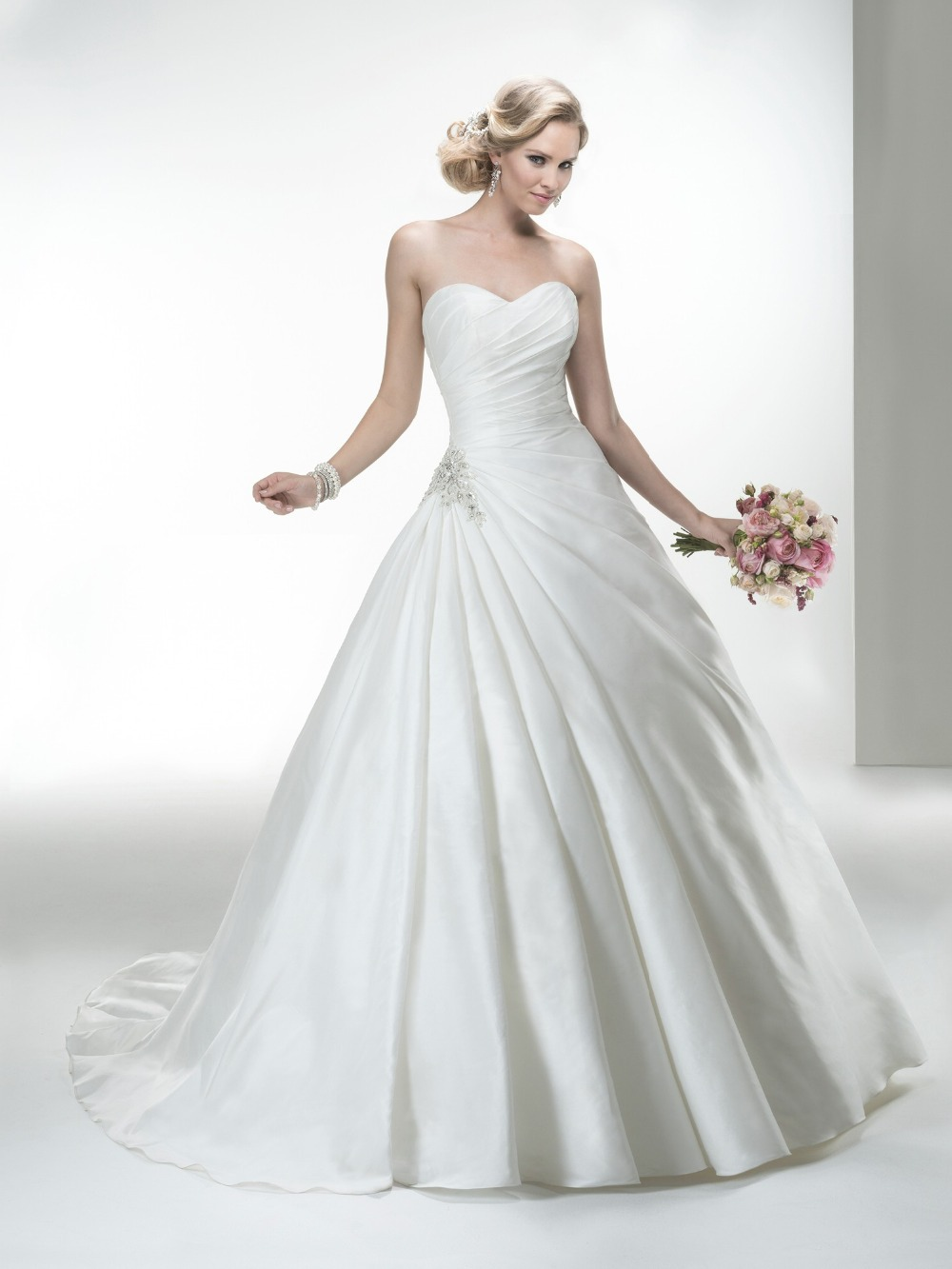 Wholesale ball gown off shoulder sleeveless pleated top for Elegant satin wedding dresses