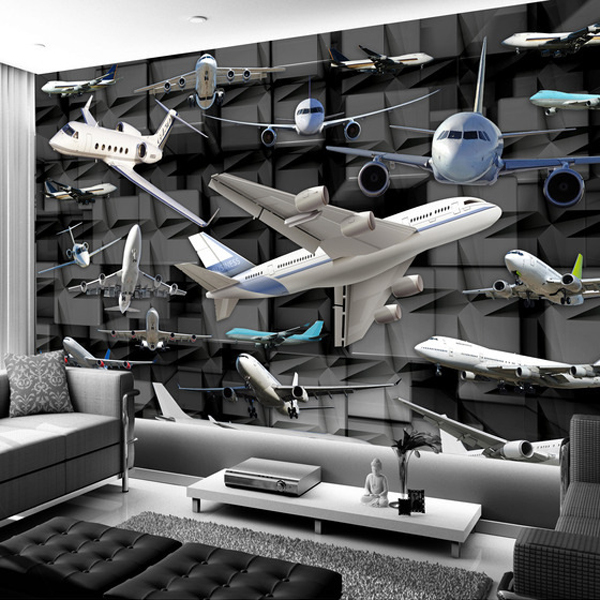 Tapete 3D Model Airplanes TV Sofa Backdrop Wallpaper Seamless Wall Covering Large Mural Paper(China (Mainland))