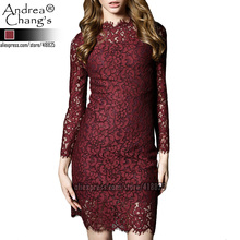 2016 spring summer designer womens dresses dark purple hollow out lace flower pattern high quality fashion slim brand lace dress(China (Mainland))