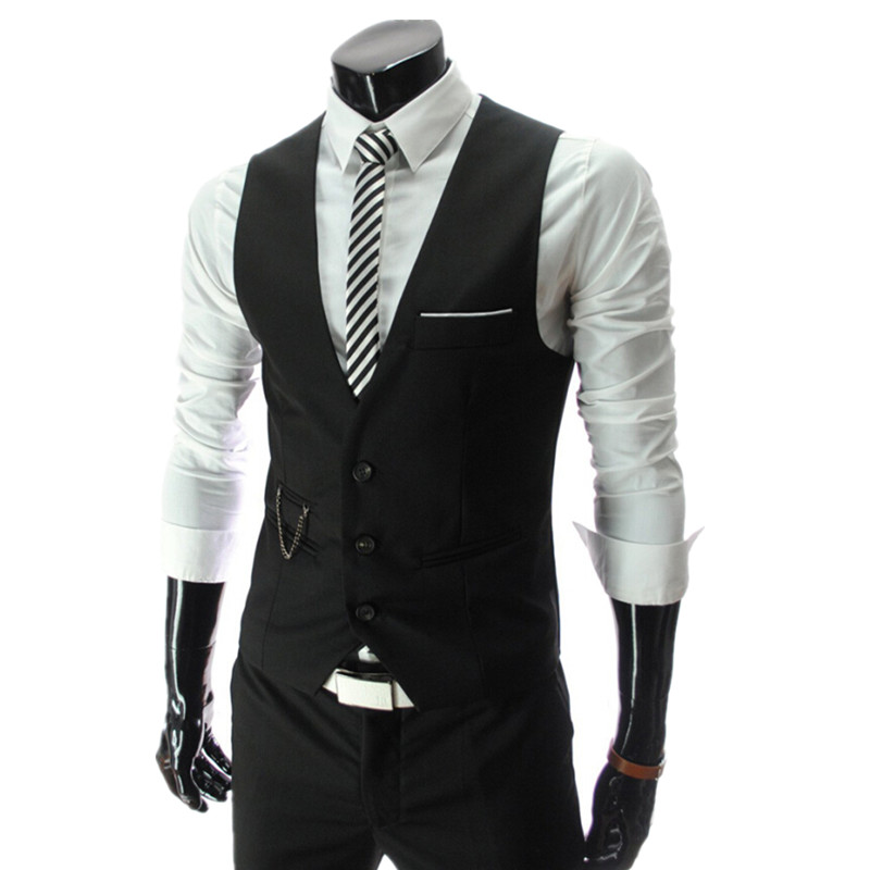 Fashion 2015 New Arrival Men Suit Vests Men's Fitted Leisure Waistcoat Casual Business vests Tops Three Buttons 4 color M-4XL