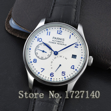 43mm Parnis White Dial Blue Numbers Power Reserve SEAGULL Automatic Men's Watch 0101