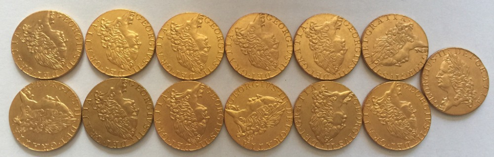 24 - K gold plated <1740-1760> 13 coins United Kingdom 1 Guinea - George II coins copy Free shipping(China (Mainland))