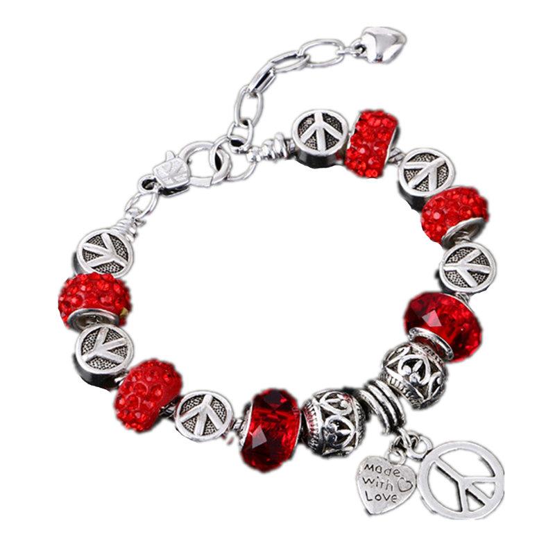 New European Fashion jewelry crystal glass bead bracelet luxury silver bracelet jewelry(China (Mainland))