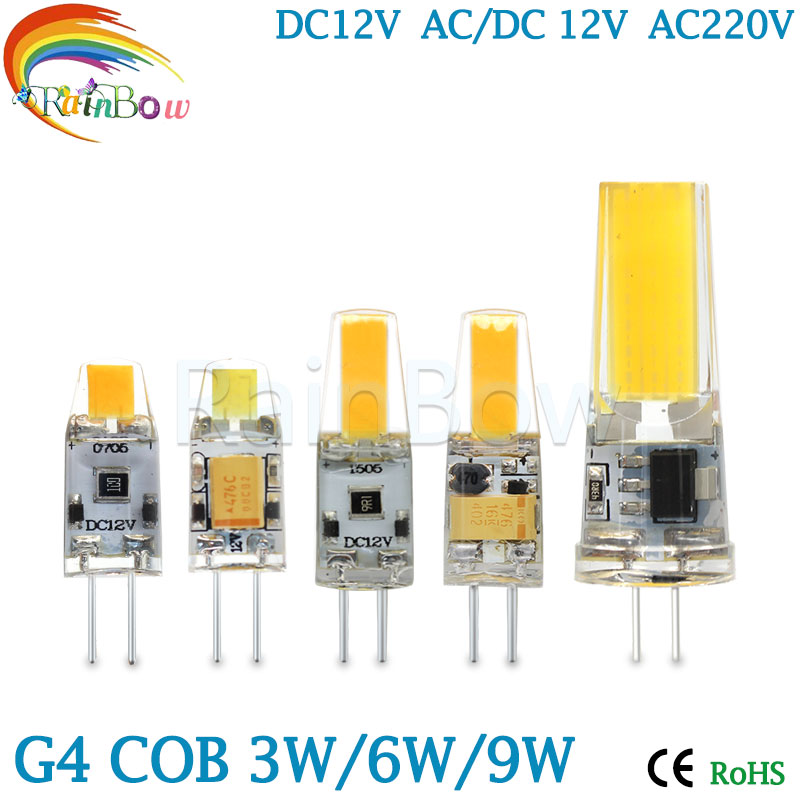 G4 G9 LED Lamp COB LED Bulb 3W 6W 9w DC/AC 12V 220V LED G4 G9 COB Light Dimmable Chandelier Lights Replace Halogen G4 G9 bulbs(China (Mainland))