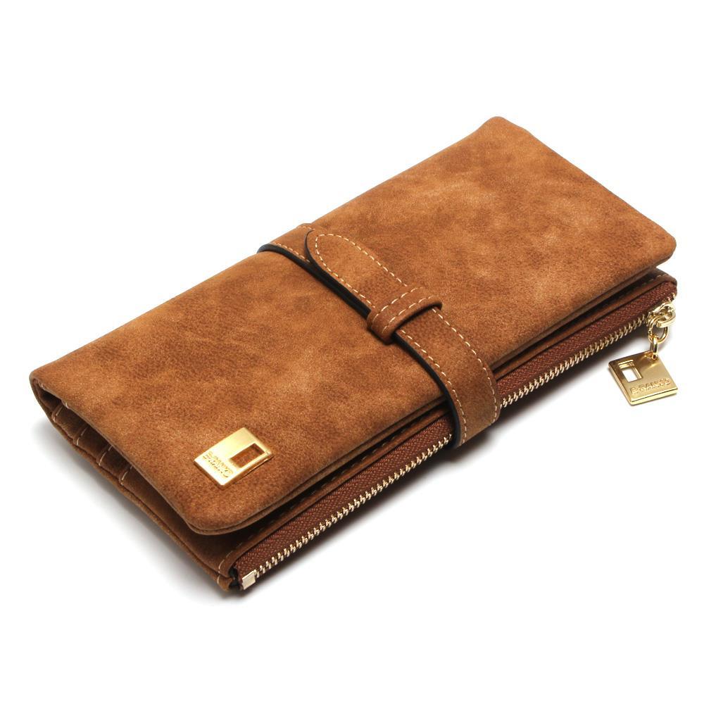2015 New Fashion Women Wallets Drawstring Nubuck Leather Zipper Wallet Womens Long Design Purse Two Fold More Color Clutch<br><br>Aliexpress