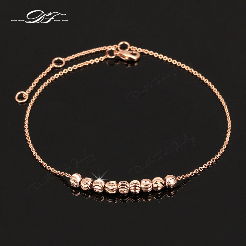 Double Fair Simple Style Metal Beads Anklets Chain 18K Rose Gold Plated/Silver Tone Fashion Jewellery/Jewelry For Women DFA020(China (Mainland))