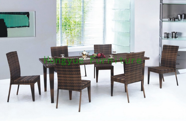 wicker dining room furniture with tempered glass(China (Mainland))