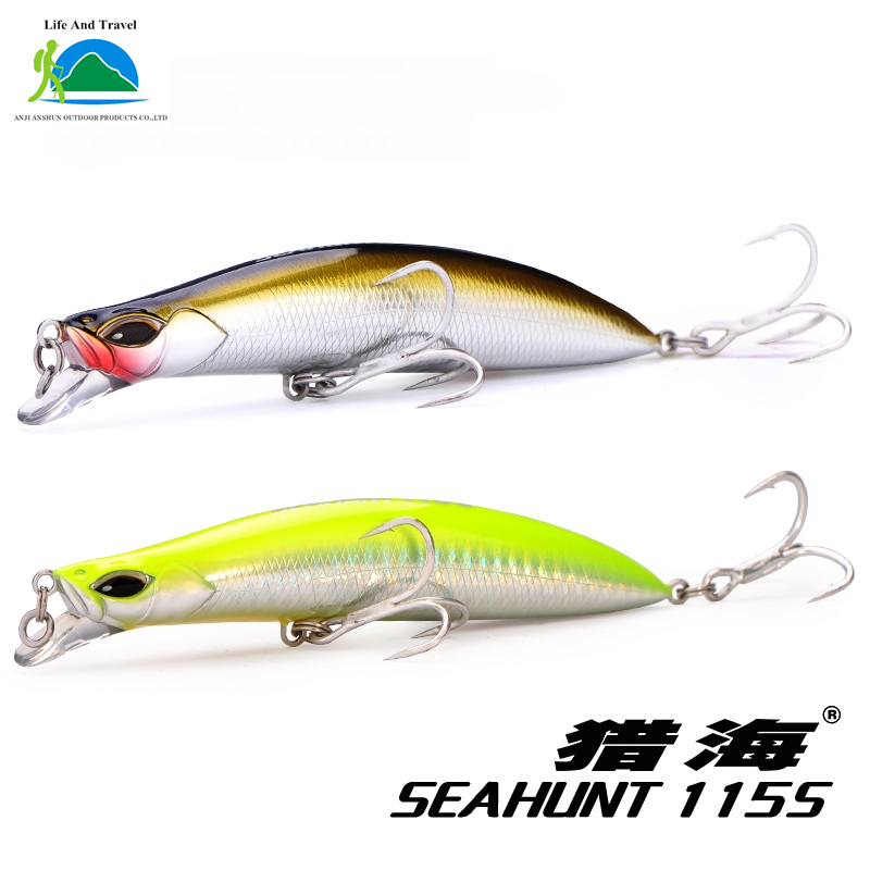 SEAHUNT115mm 24g Sinking Minnow Fishing Lure Sea Bass SFT Brand(China (Mainland))