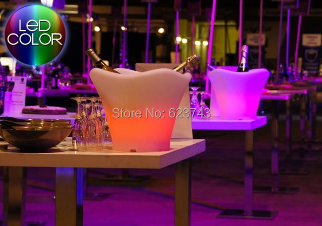 Frete grátis mutável para Quadrange Seau balde de champanhe LED multicolor, Balde de gelo LED controle remoto + adaptador