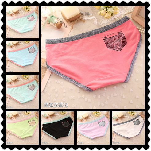 6 PCS/lot Candy Color Cotton Faux Pocket Print Panties Sexy Women's Briefs Fitness Girl's Underwear A014 Drop Shipping(China (Mainland))