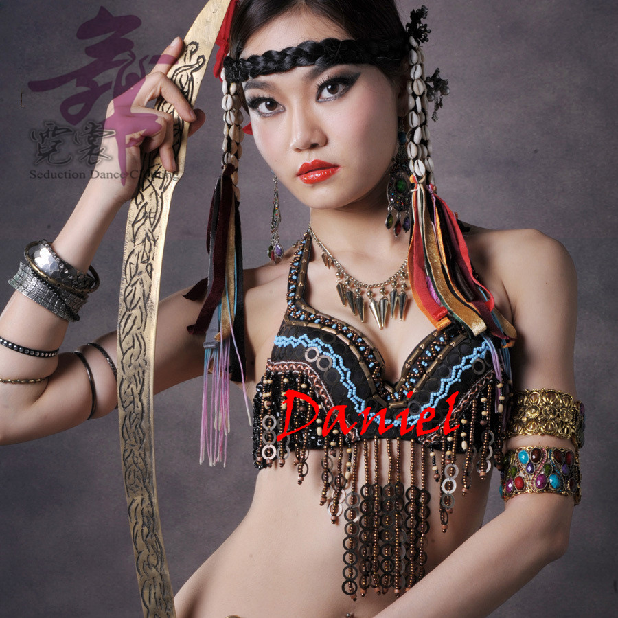 Tribal Fusion Dance Wear Coin Halter Top Adjustable Straps Wood Bead Tassel Push Up Sequin Bras Tribal Belly Dance Bra(China (Mainland))