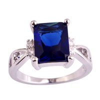 Amazing Wholesale Darkish Blue  Silver Ring Sapphire Quartz Measurement 6 7 eight 9 10 eleven Coquettish Girls Rings Rings Free Transport