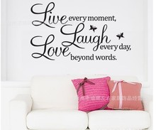 Buy % Love laugh live quotes Butterfly wall decal warm home wall sticker kids rooms Living room Bedroom Home Decoration for $1.47 in AliExpress store