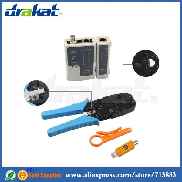 RJ45 RJ11 Crimping Tool/ Network Cable Tester BNC RJ45 Combined Tool Set(China (Mainland))