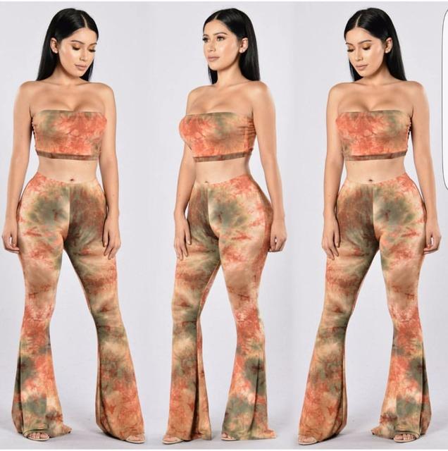 Sexy Женщин бинты 2 шт. Набор спинки печати Комбинезон Romper Брюки Клубная Одежда