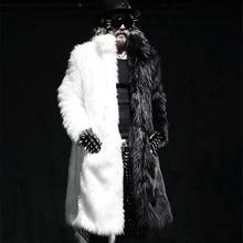 white black male female super face gown fashion fur coat stitching imitation fur coat show party nightclub bar warm winter (China (Mainland))