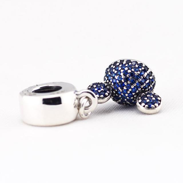Микки игристые синий CZ бусины стерлингового серебра 925 пробы украшения бусины Fit пандора неповторимое очарование браслеты DIY ювелирных украшений