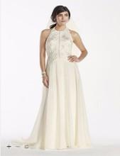 Custom Made 2016 New Free Shipping Deco-Inspired Beaded Chiffon Halter Wedding Dress Style SWG696 Wedding Dresses(China (Mainland))