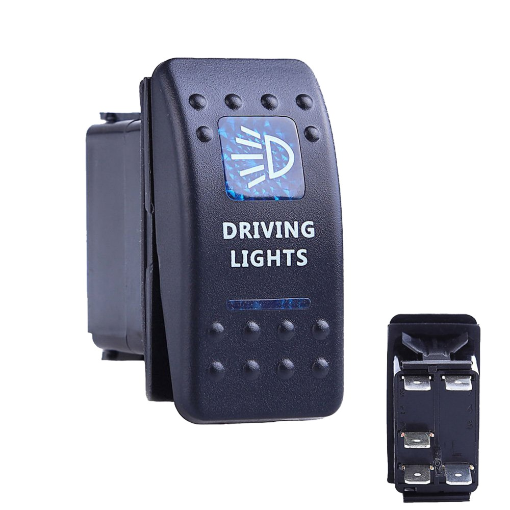 2016 Newest Waterproof Bar Carling Rocker Toggle Switch Blue LED Driving Light Car Auto Rocker Switch Drop Shipping