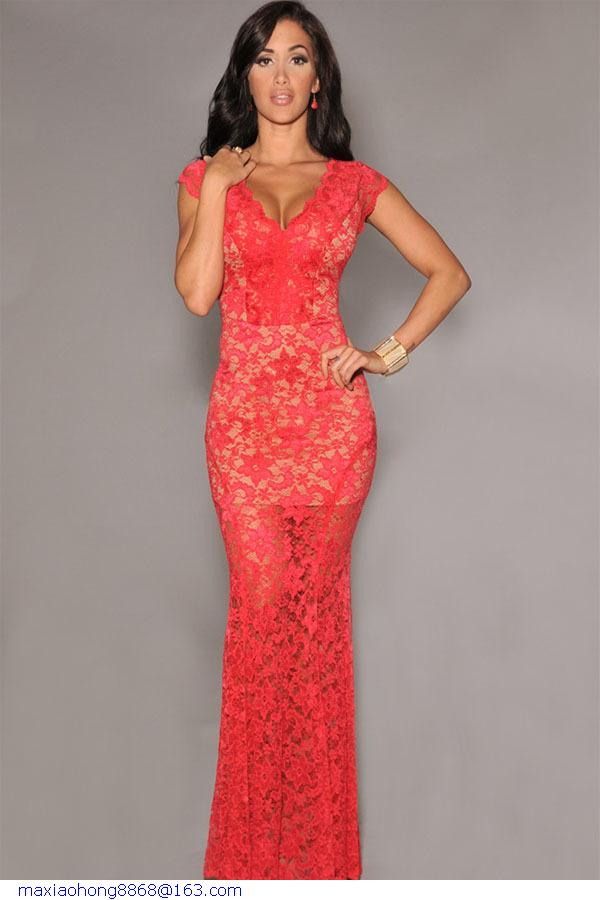 Red lace dress wedding guest