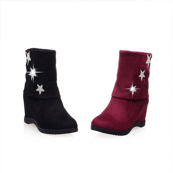 2015 Spring/Autumn New casual solid color half boots comfortable glitter boots round toe wedge heel boots Size34-40 D3220<br><br>Aliexpress