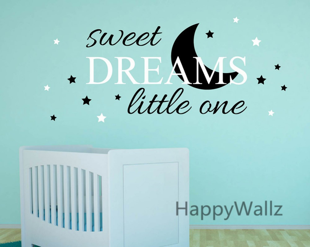 Sweet Dreams Little One Baby Nursery Quotes Wall Sticker DIY Decorative Sweet Dreams Children Quote Vinyl Wall Decals Q156(China (Mainland))