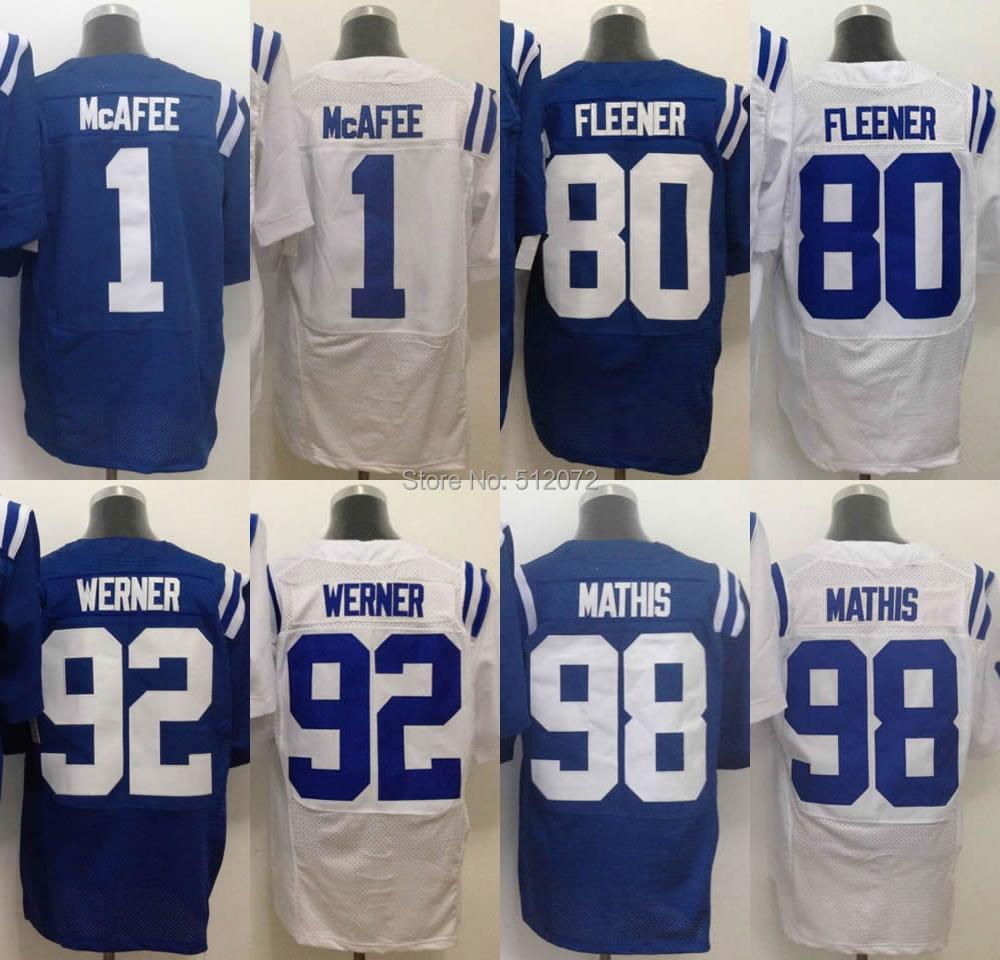 Indianapolis Men's Authentic Elite #1 Pat McAfee #80 Coby Fleener #92 Bjoern Werner #98 Robert Mathis Football Jersey(China (Mainland))