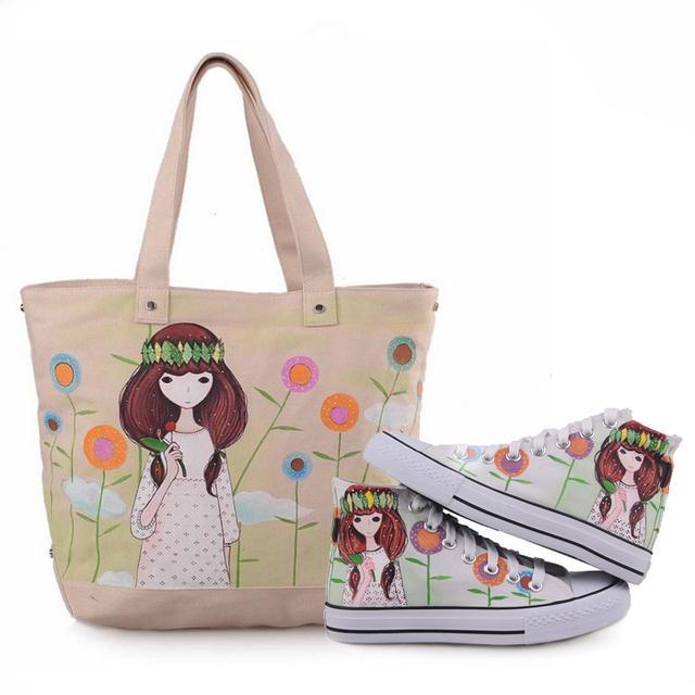 2 pieces= bags +shoes, hand painted canvas shoes sneakers,shoes  women sneakers hand painted handbags shoulder bag bags T-Z022