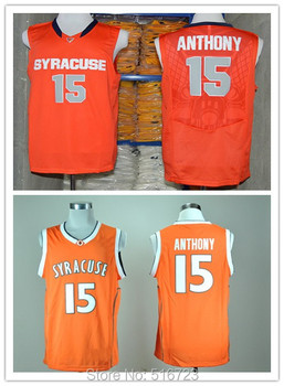 Free Shipping NCAA College Basketball Jersey Syracuse Orange 15 Camerlo Anthony Orange Size:S-XXXL can mix order