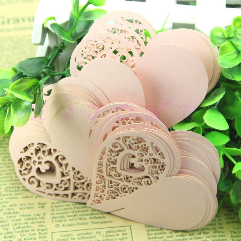 50pcs Heart-shaped Peacock Wine Glass Name Cards Wedding Party Cards Creation free shipping(China (Mainland))