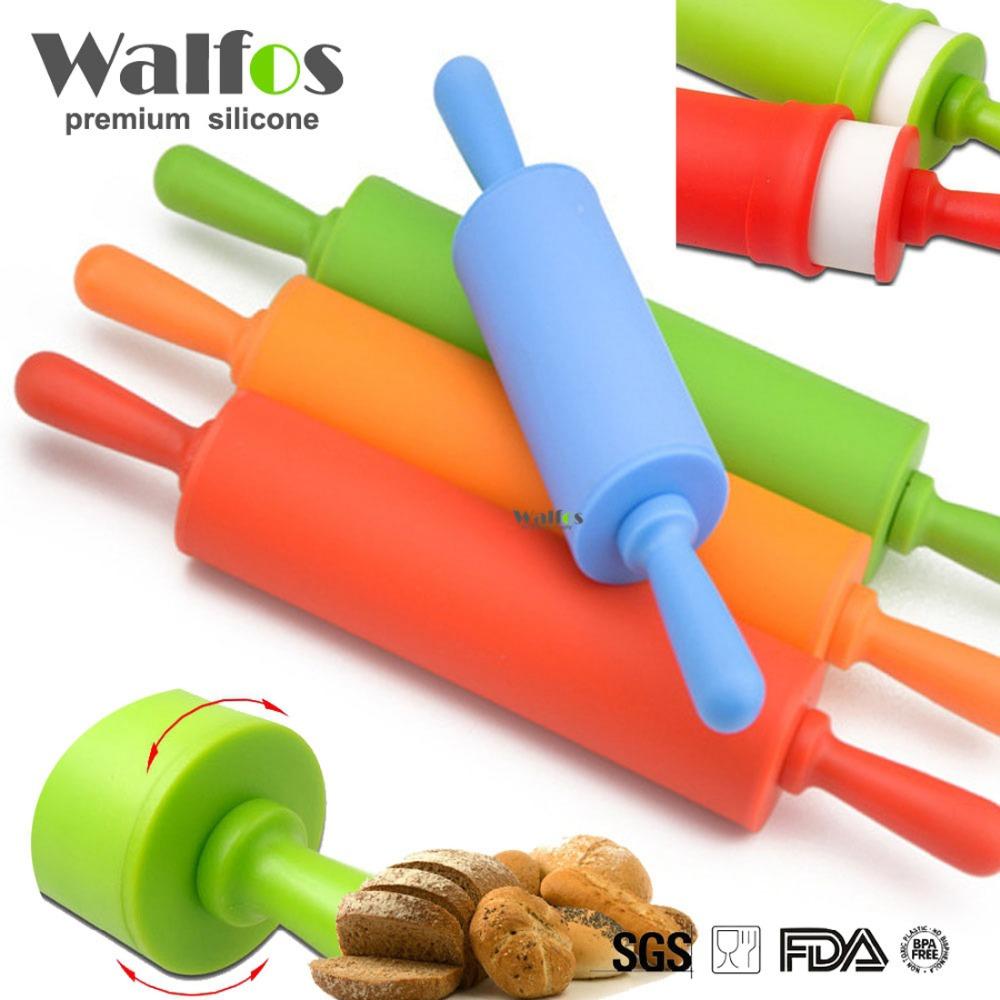 Walfos 30 cm Non-stick fondant rolling pin for kids Fondant Cake Dough Roller Decorating Cake Roller crafts Baking cooking Tool(China (Mainland))
