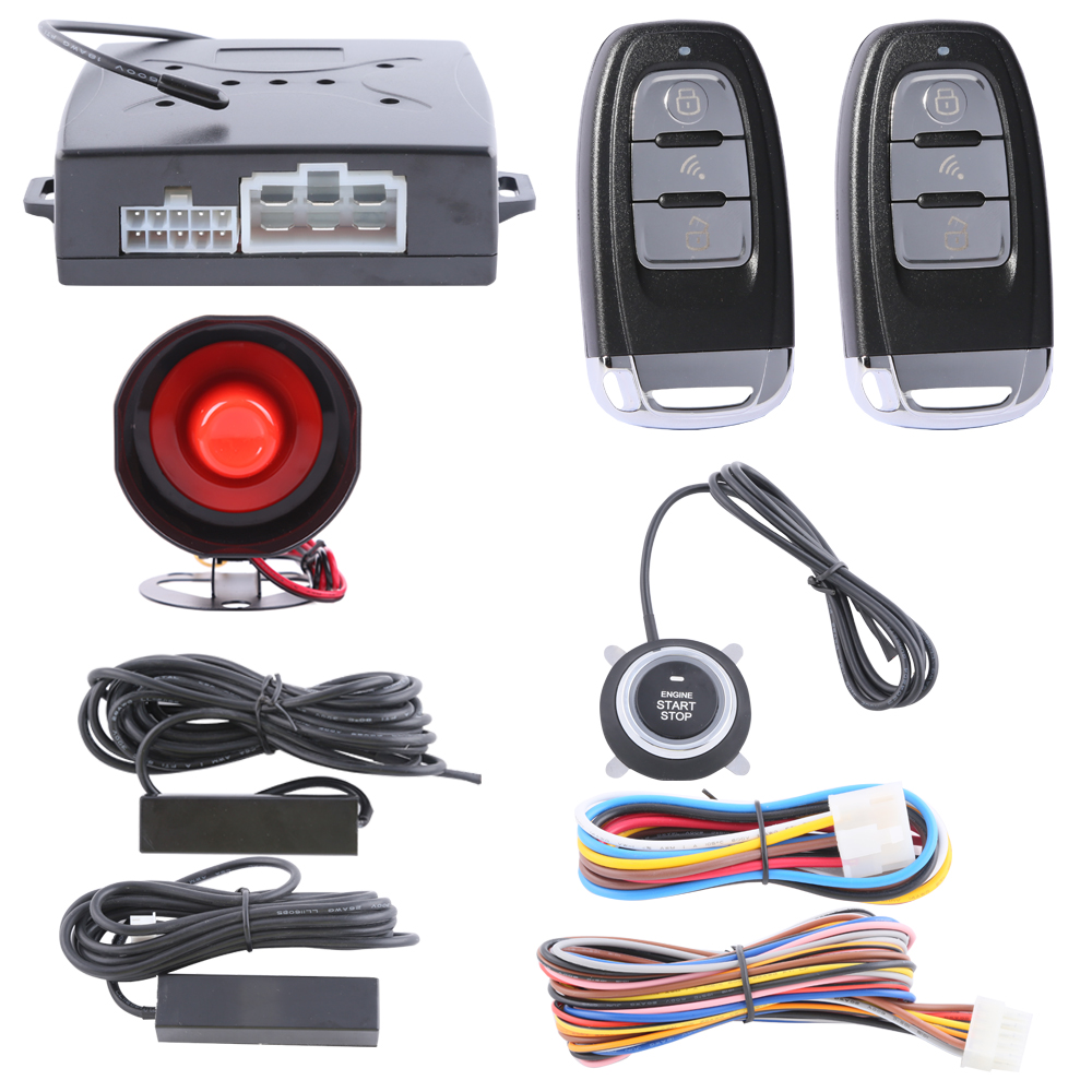 Hopping code PKE car alarm system remote engine start, passive keyless entry kit push button start stop auto lock unlock(China (Mainland))