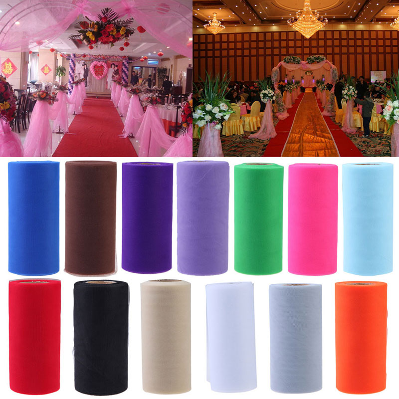 26.7X15cm Tissue Tulle Spool Craft Wedding Decoration Tulle Rolls Organza Gauze Element Table Runner Mariage Party Decoration(China (Mainland))