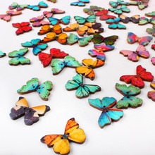 50pcs/Lot Colroful 2 Holes Mixed Butterfly Wooden Buttons Sewing Scrapbooking DIY XP0060(China (Mainland))