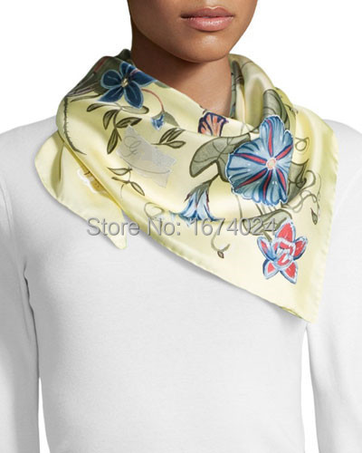 2015 Italy Luxury Brand Floral Print Silk Foulard Square Scarf Fashion Women's Art Flowers Print Silk Twill Scarf/Yellow/Black(China (Mainland))